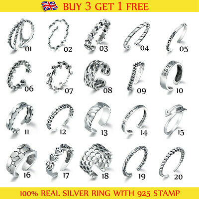 100% Real 925 Sterling Silver Jewelry Retro Style Women Party Adjustable Rings