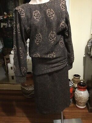 Vintage Knit Suit Jumper/skirt Wool/mohair/poly SPINELLI size 14 Copper Lurex