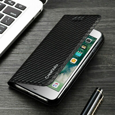 Magnetic Carbon Leather Flip Wallet Phone Case Cover for iPhone X 8 7 6 5s X XS