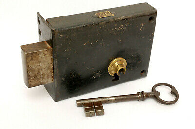 ++ Large  Antique French Door Lock with Key ++