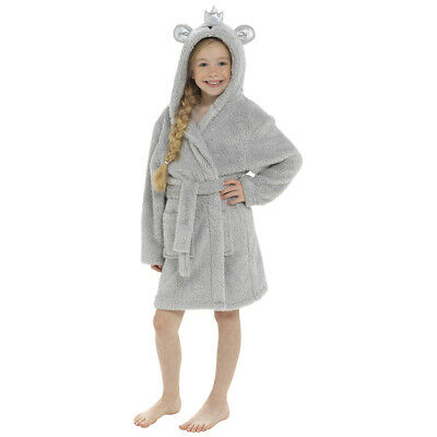 Girls Grey Bear Glitter Thread Fleece Novelty Hood Bath Robe/Dressing Gown