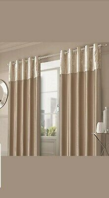 Sienna Crushed Velvet Band Curtains PAIR Eyelet Faux Silk, Lined, (117 x 137cm)