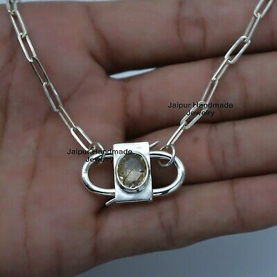 Paperclip Chain Necklace Sterling Silver Oval Golden Rutile Gemstone Padlock