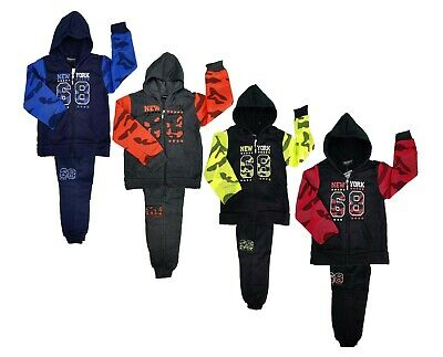 Boys Kids Tracksuit Camouflage Jog Set Urban Style Full Zip Hooded Top & Joggers