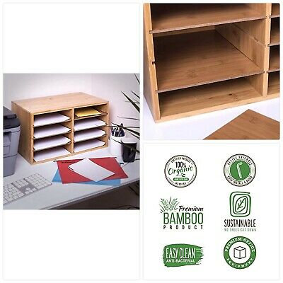woodluv Large Bamboo Desktop File Sorter A4 Document Desk Tidy Organisers Storage 8 Compartments 49 x 31 x 25cm
