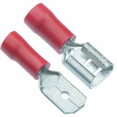 10 x PAIRS Red 6.3mm Male + Female Insulated Crimp Spade Connector