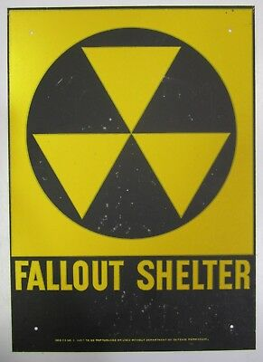"Vtg US Civil Defense Fallout Shelter Galvanized Sign 1960s Man Cave 10"" x 14"""