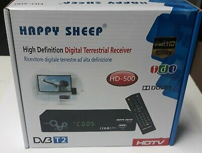 DECODER DIGITALE TERRESTRE HAPPY SHEEP DVB-T2 HD-500  FULL HD 1080p Telecomando