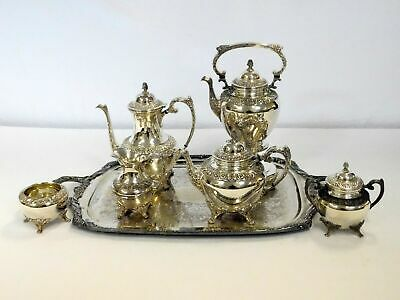 7 Piece Rogers Bros Tea Set 1847 Heritage Silverplate w Waiter Tray Floral Motif