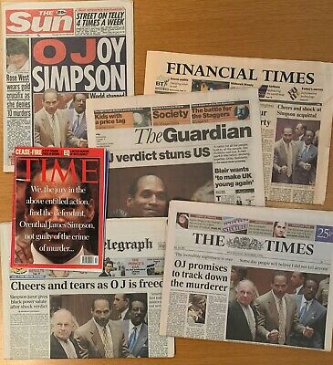 OJ Simpson Not Guilty - Newspapers, including Time Magazine. Herald Tribune