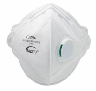 Disposable Face Mask FFP3 Fold Flat Valved Respirator Masks Box of 20 PPE Safety