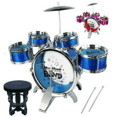 Kids My First Drum Kit Play Set Musical Drums Toy Instrument Pedal Stool Rock