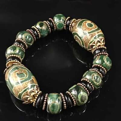 Tibetan Green Old Agate Three Eyes Dzi Bead Buddha Bead Pretty Bracelet Bangle