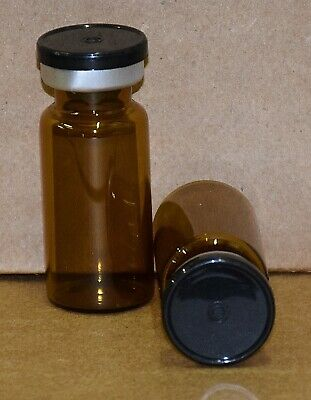 USP 10 mL Amber Sterile Vial With Black Plain Flip Off Seal ANY QTY