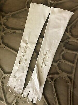 Hermes Soft Kid Leather Evening Long Gloves Lady's Opera Vtg Authentic RARE 6.5