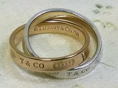 TIFFANY & CO. 1837® Interlocking Circles 18K Rose Gold & Sterling Ring Size 5