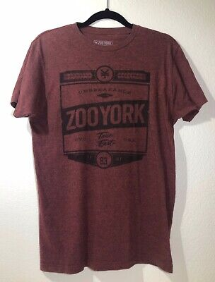 Zoo York Mens Logo T-Shirt Size M, Maroon Red Vintage Style