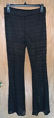 black crochet lace pants flare beach SM never worn