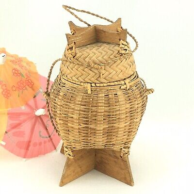 Vintage Japanese Asian Woven Bamboo Wood Basket with Lid Tea Caddy