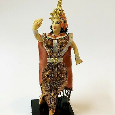Thai Dancer Posable Cloth Doll, Traditional Costume, 19cm Tall