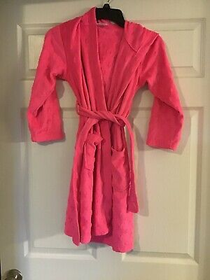 Total Girl Brand Girls Size Small 6/6X Hooded Pink Fleece Bath Robe EUC