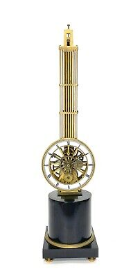 Mystery Pinwheel Upside Down Skeleton Swinging Clock with Marble Base