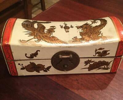 Antique Chinese Gilt Wood/ Leather Pillow Box 10""