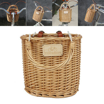 Tourbon Retro Cycling Bike Front Handlebar Basket Wicker Woven Tool Case Outdoor
