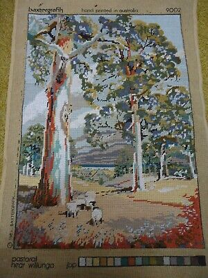Tapestry completed. Pastoral near Willunga. 58cm x 40.5 cm. Has been framed.