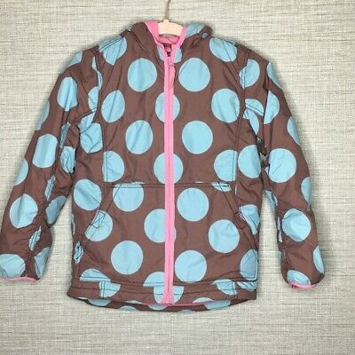 Mini Boden Girls 9/10 Polka Dot Puffer Coat Brown Blue Pink