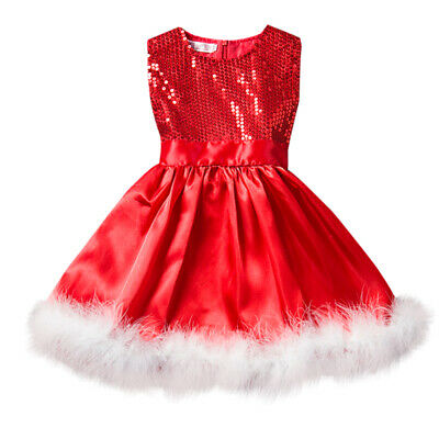 Girls Christmas Dress Kids Baby Party New Year Holiday Red Sequins Santa Costume