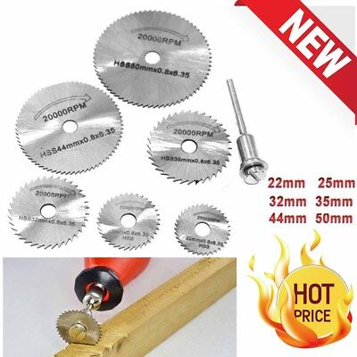 6X Of 22-50mm HSS Circular Saw Blade Cutting Discs Set and Mandrel for Drill New