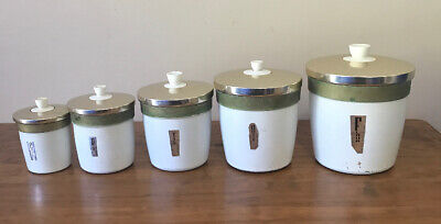 Vintage Retro Aluminium Kitchen Canisters Set Of 5 With Anodise Lids Mid Century