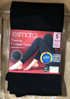 ESMARA Ladies/' Thermal Thick Footless Tights Soft Fleece Black S M