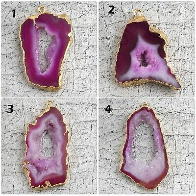 Pink Colorful Natural Geode Slice Druzy Yellow Gold Plated DIY Pendant Connector