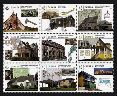 Canada Stamps — Pane of 9 — Housing in Canada #1755 (a-i) — MNH