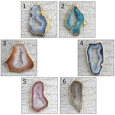Multi Colorful Natural Geode Slice Druzy 24k Gold Plated DIY Pendant Connector