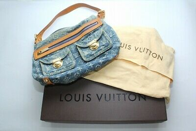 Authentic LOUIS VUITTON Baggy PM M95049 Monogram Denim Shoulder Bag 110213