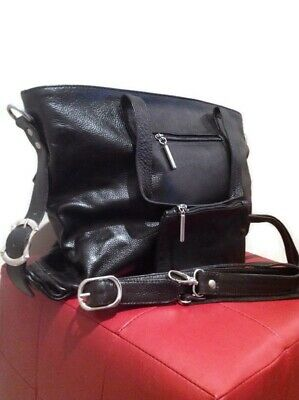 Women Black Genuine leather handbag/shoulder bag.With Small Purse,Large capacity