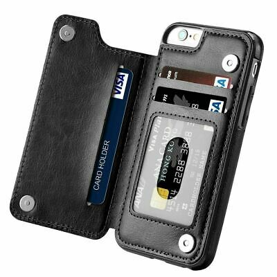 Leather Flip Wallet Card Holder Case Cover For iPhone 11 7 8 Plus Samsung S10+