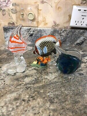 Rainbow Tropical Angel Fish Blue Red Bubble Paperweights 3pc Set