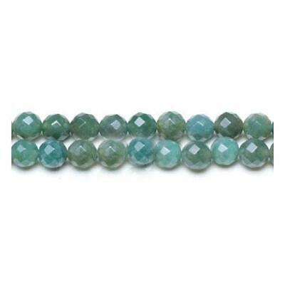 Moss Agate Faceted Round Beads 8mm Green 45 Pcs Gemstones DIY Jewellery Making