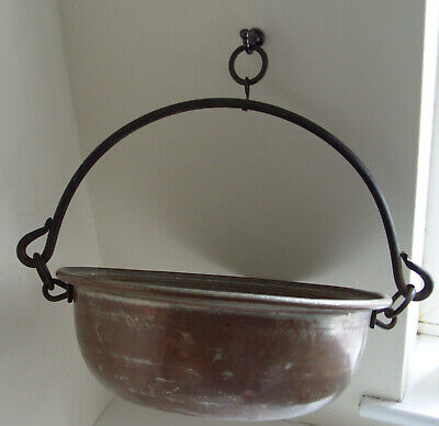 Antique Cast Iron Swing Handled Brass Cooking Pot 33cm Diameter