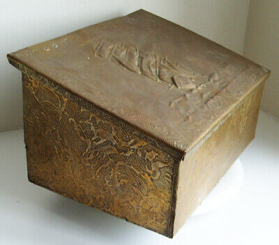 Vintage Brass and Metal Fireside Container with Ship Design on front