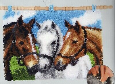 THREE HORSES LATCH HOOK RUG KIT or WALL HANGING by VERVACO, BRAND NEW