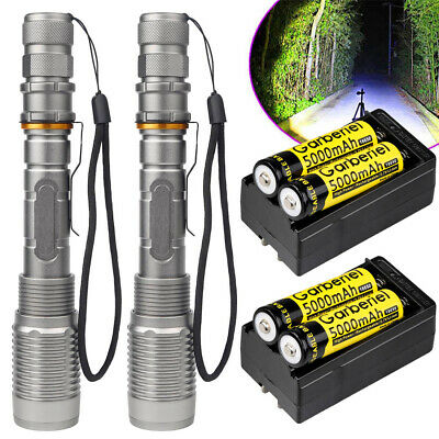 2xTactical 500000Lumen T6 18650 5 Modes Flashlight Zoom Aluminum+Battery+Charger