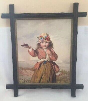 Antique Vtg Black Forest Wood Picture Frame 17in x 15in Cabin Grapes Child