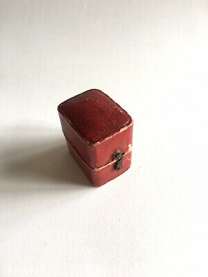 Antique Victorian Era Red Leather Ring Box Jewellery Display Presentation Case