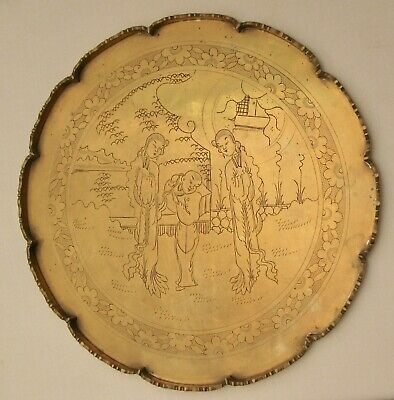 """Antique Chinese Export Brass Tray Engraved Figural Scene 11-1/2"""" Solid"""