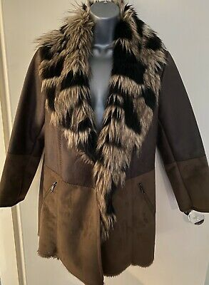 River Island Brown Faux Leather Suede Fur Winter Coat Size 12 Zipped Pockets